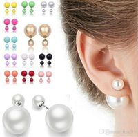 Wholesale Wholesale Ear Plugs Jewellery - New Runway Colorful cultured Pearl Earrings Jewellery Double Pearl Beads Plug Earrings for women lady girls Ear Studs Pin for party 2979