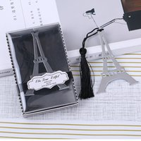 marcadores estacionários venda por atacado-Bookmarks de metal sliver presente Borlas Eiffel Torre de Bookmarks de Aço Inoxidável marcador estacionário Favores Do Casamento Presente DHL Frete Grátis