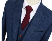 Wholesale Tailored Jackets - Wool Blue Herringbone Retro gentleman style custom made Men's suits tailor suit Blazer suits for men 3 piece (Jacket+Pants+Vest)