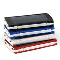 conector usb telefone celular venda por atacado-Carregador solar e Bateria de 5 cores 30000 mAh Painel Solar Dual USB LED Portas De Carregamento banco de potência com Conector pacote para Telefone Celular