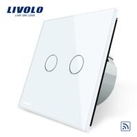 livolo uzaktan kumanda anahtarı toptan satış-Livolo AB Standardı, Uzaktan Anahtarı, Kristal Cam Panel, AB standart, Duvar Işık Uzaktan Dokunmatik Anahtarı + LED Göstergesi, C702R-1/2/3/5