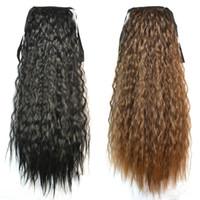 головной убор для хвостика оптовых-Оптово-модные женские хвостики наращивание волос черный коричневый блондин длинный вьющийся хвост синтетические волосы конский хвост наращивание волнистые волосы