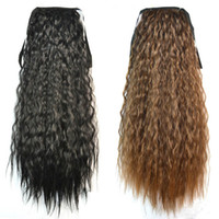 Wholesale Long Wavy Ponytail - Wholesale-Fashion Women Ponytails Hair Extensions Black Brown Blonde Long Curly Ponytail Synthetic Hair Pony Tail Extension Wavy Hairpiece