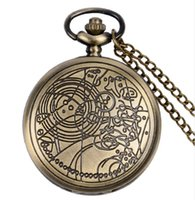 Wholesale Steampunk Wholesalers - Vine Bronze Silver Steampunk Doctor Who Quartz Pocket Watch Necklace Chain Full Hunter FOB Watch