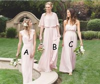 Wholesale Wedding Dresses For Cheap Online - 2018 Cheap Long Chiffon Bridesmaid Dresses For Sale Pink V Neck a Maid Of Honor For Wedding Online