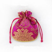 Wholesale Silk Cloth Drawstring Bags - Rich Flower Small Drawstring Cloth Bags with Lined Silk Brocade Jewelry Packaging Pouch Candy Favor Bag Trinket Coin Pocket 11x14 cm