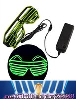 Wholesale New Shutter Fashion - 2017 NEW Top El Wire Fashion Neon LED Light Up Shutter Shaped Glasses Rave Costume Party FREE SHIPPING MYY
