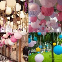 """Wholesale Lamp Rice - 10"""" Inch Multicolor Chinese Traditional Wedding Round Paper Lantern Hanging Year Party Decoration Lampion Rice Lamp"""