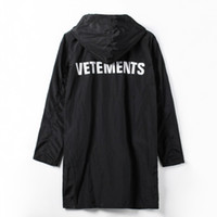 Wholesale trench coat waterproof woman - Wholesale- VETEMENTS POLIZEI OVERSIZED KANYE WEST Jacket Big Bang Extended Rain Coat Men Women Windbreaker Trench Waterproof Jacket Coats