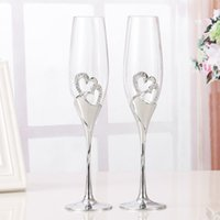 Wholesale Diamond Ring Cup - Wholesale- 2 PCS  Set Wedding Champagne Crystal Silver Plated Toasting Flutes Long Wine Glasses Cup Diamond Ring for Party Decoration Gift