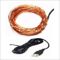 Wholesale christmas connector resale online - via DHL Xmas gift USB V copper wire fairy string christmas day holiday party USB connector DIY LED strip