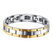 homens saúde presentes venda por atacado-Dos homens de aço titanium terapia magnética de saúde pulseira pulseira de prata para os homens amizade presente
