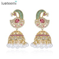 Wholesale Antique Chandelier Earrings - Antique Indian Ethnic Jhumka Jhumki Earrings With White Created Pearl Umbrella Drop Setting Chandelier Earring For Bridal Jewelry LUOTEEMI