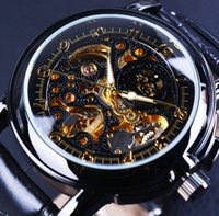 Wholesale Orkina Automatic - Wholesale- Orkina Luxury Clock Men Leather Skeleton Watch Classic Retro Black Golden Dial Relogio Male Masculino Mechanical Automatic Watch