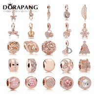 Wholesale Rose Gold Round Beads - DORAPANG 2017 Fit Original Charm Bracelets Gilded Rose Gold color Authentic 925 sterling silver Beads Women DIY Fashion Jewelry