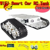 Wholesale Robot Car Sensors - Wholesale- Official DOIT RC Metal Robot Wall-e Tank Car Chassis With High Torque Motor Hall Sensor Speed Measure Tracked Caterpillar