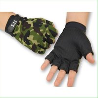 Wholesale Thin Cycling Gloves - 1 Pair Summer Thin Durable Half Finger Outdoor Sports Gloves Camo Camouflage Non-slip Cycling Riding Running Gloves for Men Women