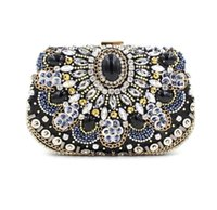 Vintage Women Black Beaded Clutch Bag Sequined Diamond Handbag Bridal Wedding Party Metal Clutches Кошелек Minaudiere Вечерняя сумка