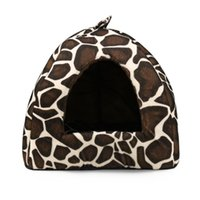 Wholesale Small Soft Dog House - 2017 New Foldable Soft Warm Dog Cat House Bed Nest for Puppies Dog House Kennel Accessoies Winter Leopard Dog Bed Cave 4 Size
