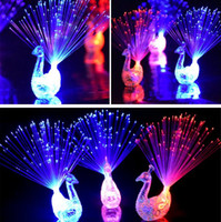 Wholesale Fiber Optic Peacock - DY342 LED Flashing Peacock Fiber Optic Finger Lights Rings for Raves or Party Favor DHgate Cheapest