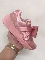 Wholesale Bow Cut Out - 2017 Fashion Basket Silk Straps Bow Sneaker Shoes For Women Outdoor Walking Flats,High Quality Pink,Olives Green Trainers Free Shipping