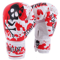 Wholesale Free Mma Gear - Wholesale Red Skulls Boxing Gloves Muay Thai MMA Karate Taekwondo Guantes 10 Ounce Boxing Glove Free Shipping