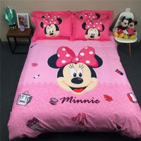 Wholesale Magenta Comforter Set - Minnie cartoon comforter duvet cover bed bedding set queen king twin kids pink girls pink and magenta bed sheet linen 3 4 5 pcs