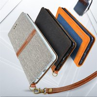 Wholesale hand wallet for mobile - Luxury Flax Denim Leather Flip Wallet Card Mobile Phone Stand Case With Removable Hand Strap For IPhone 7
