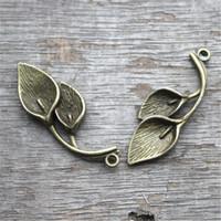 Wholesale Calla Lily Pendant - 12pcs--Leaf charms, Antique bronze Vintage 3D Lotus Mist Lily Calla Charm Pendant 38x14mm