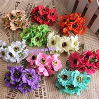 Wholesale Real Touch Flowers Poppy - Wholesale- 6pcs lot High quality Real Touch Small Artificial Poppy Bouquet  Wedding Silk Rose Flowers For DIY Scrapbooking Flower
