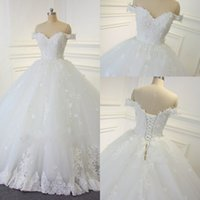Ball Gowns online - 2017 Lace Ball Gown Vintage Wedding Dresses Arabic Off-the-shoulder Beads Bridal Gowns Hand Made Flowers Lace Up Backless Wedding Gowns
