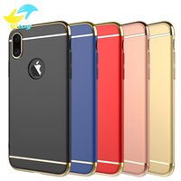 Wholesale Mobile Phone Hard Cover Case - Luxury 3 In 1 Electroplating Plastic Hard Back Case For Iphone6 7 8 Plus samsung s7 s8 s8 plus All Around Protect Cover Mobile Phone Cases