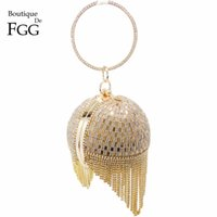 Wholesale Evening Metal Clutches - Wholesale- Women Wedding Dress Bridal Golden Crystal Diamond Tassel Round Evening Clutches Wristlets Handbags Metal Hard Case Clutch Bag
