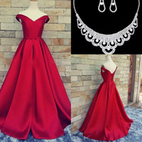 Wholesale Real Coral Necklaces - 2017 Vintage Guest Dresses V-neck Evening Dresses Backless Lace Up Prom Dresses Sleeveless A-Line Sash Satin Evening Gown Free Necklace Set