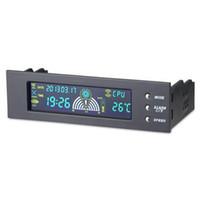 вентиляторы кулеров процессора оптовых-Freeshipping высокое качество 5,25 дюйма залив передняя ЖК-панель 3 контроллер скорости вентилятора датчик температуры процессора