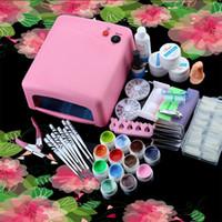 Wholesale Gel Lamp Kit - 36 W Nail Sets EU Plug UV Nail Lamp Dryer 12 Pure Colors Polish Gel Electric Automatic Pedicure Manicure Tools Nail Remover Kits +B
