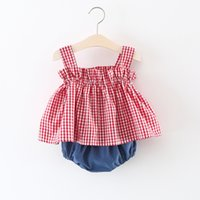 Wholesale Cute Collared Shirts For Girls - Infant Baby Girl Clothes Sets Summer 2017 Fashion Cute Plaid T Shirts +Pants 2Pcs Kids Clothes Suits for Toddler Girls Clothing