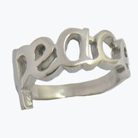 Wholesale Vintage Rings Peace - Custom made stainless steel vintage mens or wemens jewelry SIGNET WORD PEACE RING LETTERS RING 12W68