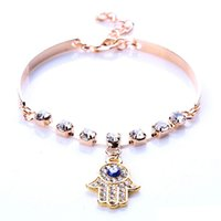 Wholesale Coppers Symbol - Wholesale-Good Women Hamsa Symbol Fatima Hand Pendant Rhinestone Gold Plated Bracelet Bangle Jewelry Gift 4ZIV