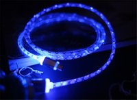 Wholesale El Usb - LED Visible EL Light 1m 3ft Micro USB V8 Flat Flashing Data Charger Cable USB Cables For Samsung S3 S4 s6 s7 note 4 5 HTC