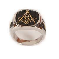 Wholesale Wholesale Masonic Rings - Wholesale- Cool Mens Silver Gold Free Mason Freemasonry Masonic Ring 316L Stainless Steel Band Ring