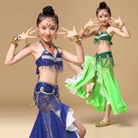 Sequin oriental cloth - Children Belly Dancing Cloth for chld Performance Oriental piece Suit Bra Belt Skirt Children Belly Dance Costume for Girls