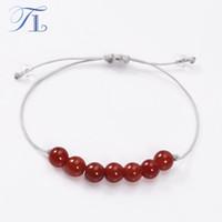 liebe handgefertigt großhandel-TL handgemachte 7 Chakra Armband natürliche rote Karneol Perlen Liebe Heilung Armband Yoga Armband für Frauen Vitalität Energie Schmuck