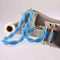 Wholesale Necklace Earrings Neon - 2017 Big fashion jewelry set neon net chains cross blue bright necklace earring bracelet sets