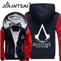 Vente en gros- 2017 Men Thick Warm Hooded Sweatshirts <b>Assasins Creed</b> Fleece Manteau doublé Revolutionary Game Hoodies Hip Hop Men Vestes 4XL