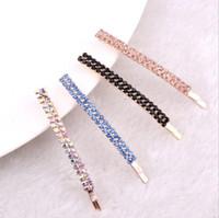 accesorios para el cabello clips de diamantes al por mayor-Diamante espárragos ornamentos simples adornos de diamantes accesorios para el cabello horquilla carpeta carpeta flequillo carpeta FJ164 orden de la mezcla 60 piezas mucho