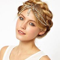 Wholesale Gold Wedding Head Pieces - 10 PCS Wholesale Crystal Pearls Jewelry Bridal Headbands Headpieces For Bride Bridal Wedding Hair Head Pieces Wedding Accessories for Women