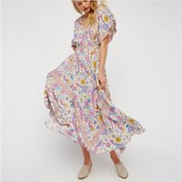 Wholesale Boho Dress Large - Maxi Boho dress 2017 bird floral print summer deep V-neck tassel batwing sleeve large swing women Maxi dresses bohemian beach long dresses
