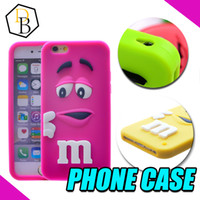 Wholesale Iphone Cover Case Chocolates - For I phone6 Case 3D Cartoon Cute Girl and Boy M&M's Chocolate Candy Color Rainbow Bean Soft Silicone Case Cover For many phones DHL
