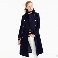 Wholesale Women Winter Coats Uk - UK Manteau femme 2017 Autumn Winter Women Navy Notched Double breasted Woolen Long coat Classic Slim Overcoat abrigos mujer
